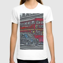 London bus and cab T-shirt