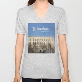 Technoland, Berlin, the Techno Meca Club! Unisex V-Neck