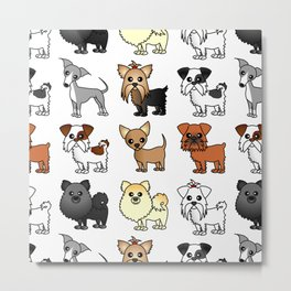 Cute Toy Dog Breed Pattern Metal Print