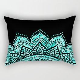 Black teal mandala Rectangular Pillow