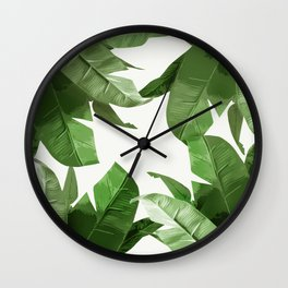 Tropical Palm Print Treetop Greenery Wall Clock