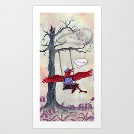 The Red Raven Revelation Art Print