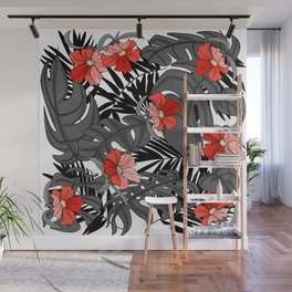 Tropical Flower Pattern - Black and White Wall Mural