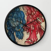 foo fighters Wall Clocks featuring Foo Dogs by Easley