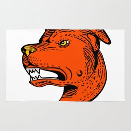 Angry American Staffordshire Bull Terrier Etching Color Rug