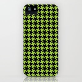 Black and Light Green Classic houndstooth pattern iPhone Case