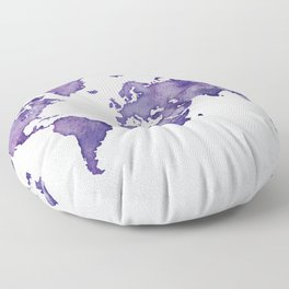 Purple World Map 01 Floor Pillow