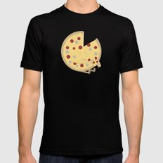 Pizza! SMALL Black Mens Fitted Tee