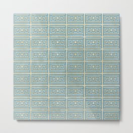Vintage Blue Tile  Greek Meander Pattern Metal Print