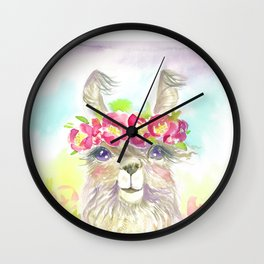 Llama in flower crown Wall Clock