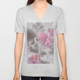 Negative Of Skull And Peonies Unisex V-Neck