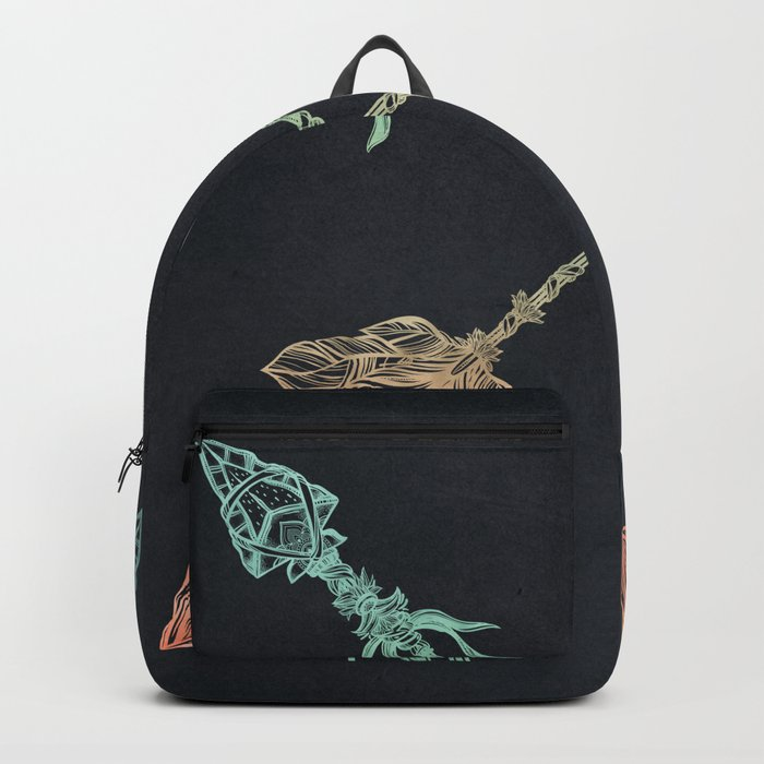 Arrows Turquoise Coral on Navy Backpack