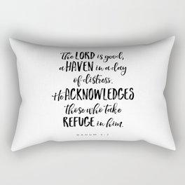 Nahum 1:7 - Bible Verse Rectangular Pillow
