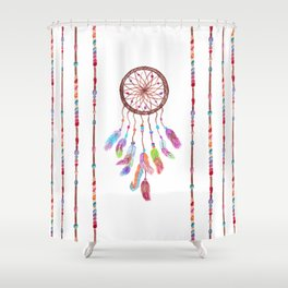 Hand Painted Watercolor Dreamcatcher Beads Feather Shower Curtain