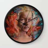 alice in wonderland Wall Clocks featuring Alice in wonderland by Joe Ganech
