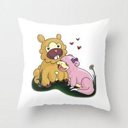 Bidoof and Slowpoke Love Throw Pillow