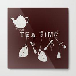 Brown Tea Time Metal Print