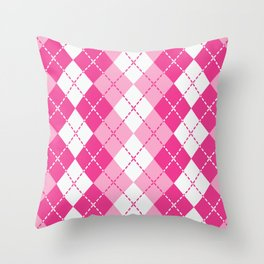 Argyle Design in Pink and White Throw Pillow