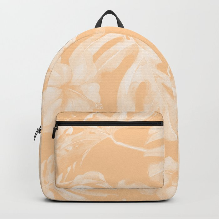 Island Vacation Hibiscus Palm Leaf Coral Mango Orange Backpack
