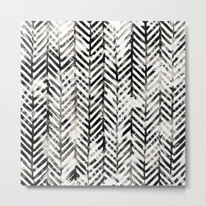 Black and White Herringbone Metal Print
