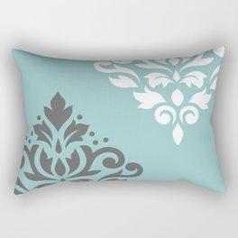 Scroll Damask Art I Gray White Teal Rectangular Pillow