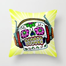 Sugar Skull with Headphones Zombie by RonkyTonk Throw Pillow