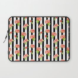 Peonies on stripes - Modern. Floral Laptop Sleeve