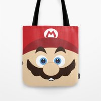 super mario Tote Bags featuring Super Mario by Xiao Twins