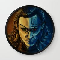 loki Wall Clocks featuring Loki by Sara Cooley