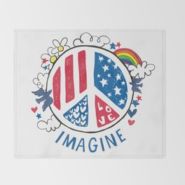 Imagine Peace And Love Throw Blanket