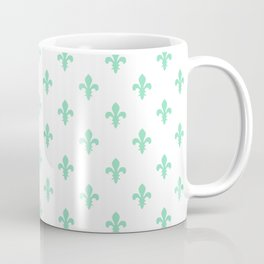 Fleur-de-Lis (Mint & White Pattern) Coffee Mug
