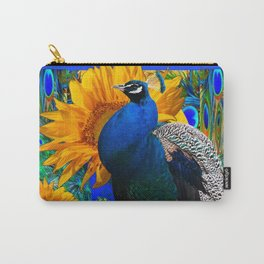 #2 BLUE PEACOCK &  SUNFLOWERS BLUE MODERN ART Carry-All Pouch