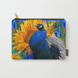#2 BLUE PEACOCK &  SUNFLOWERS BLUE MODERN ART Carry-All Pouch