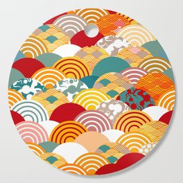 Nature background with japanese sakura flower, orange red pink Cherry, wave circle pattern Cutting Board