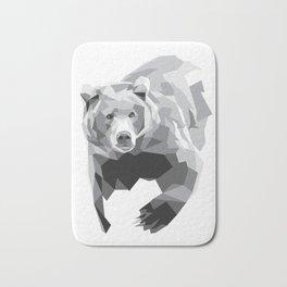 Geometric Bear on White Bath Mat