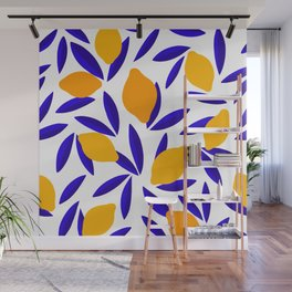 Blue and yellow Lemon Summery Pattern Wall Mural
