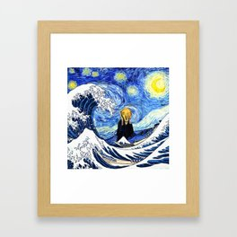 The Great Wave Off Kanagawa Starry Night Scream Framed Art Print