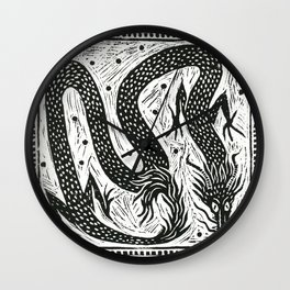 Dragon Lino Cut Black Wall Clock