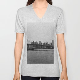 Brooklyn Bridge and downtown New York, USA | Sky and water | abstract travel art | Tipical NY building and view architecture photo Art Print Unisex V-Neck
