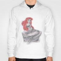 tim burton Hoodies featuring If the little mermaid was drawn by Tim Burton by Collin Durden