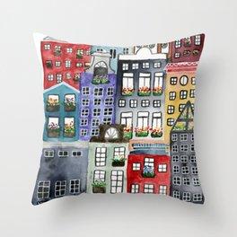 a walk through amsterdam Throw Pillow