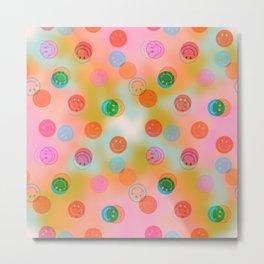 Tie Dye Smiley Face Stamp Print Metal Print