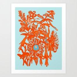 Orange and blue floral pattern Art Print