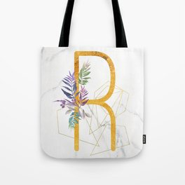 Modern glamorous personalized gold initial letter R, Custom initial name monogram gold alphabet prin Tote Bag