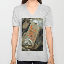 Extreme Closeup of Antique Motorcycle Unisex V-Neck