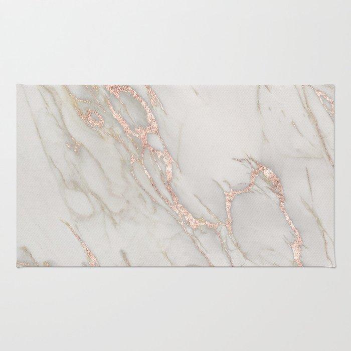 Marble Rose Gold Blush Pink Metallic By Nature Magick Rug