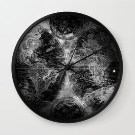 Antique Map Space Stars Black and White Wall Clock