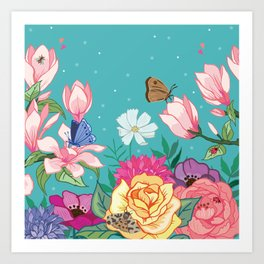 Magnolia Blossom and Bright Garden Flowers on Teal Art Print