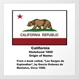 California Name Origin Words Below Flag Art Print