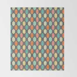 Midcentury Hexagon Argyle on Grey Throw Blanket